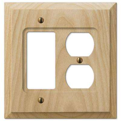 1 Rocker 1 Duplex Wall Plate - Un-Finsished Wood