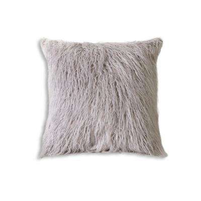 Frisco Mongolian Sage Grey 20 in. x 20 in. Faux Sheepskin Fur Pillow