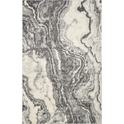 Watercolors Ivory/Grey 3 ft. x 5 ft. Marble Area Rug