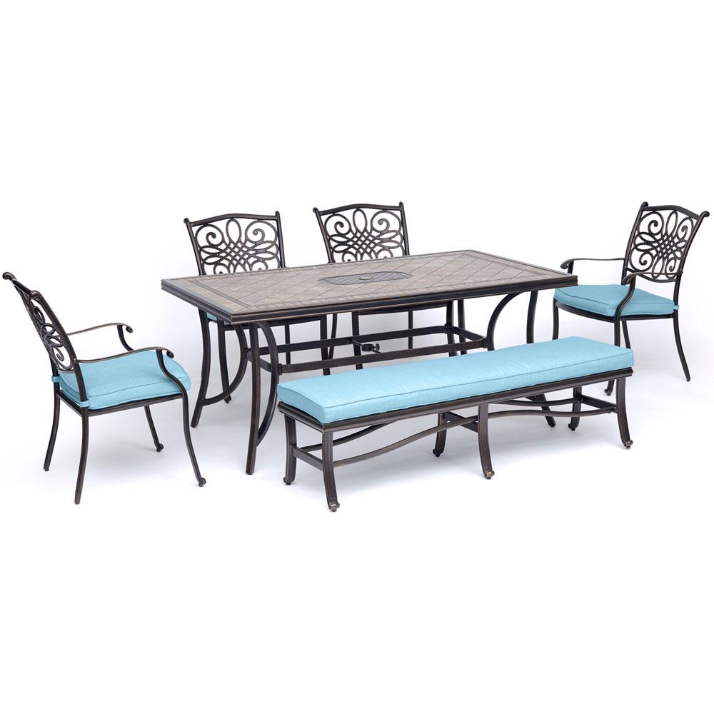 Hanover Monaco 6 Piece Aluminum Outdoor Dining Set With Blue Cushions With Four  Dining Chairs
