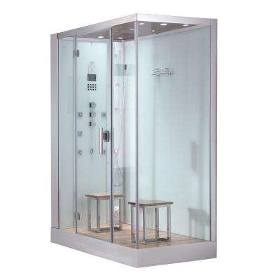 59 in. x 35.4 in. x 89.2 in. Steam Shower Enclosure Kit in White