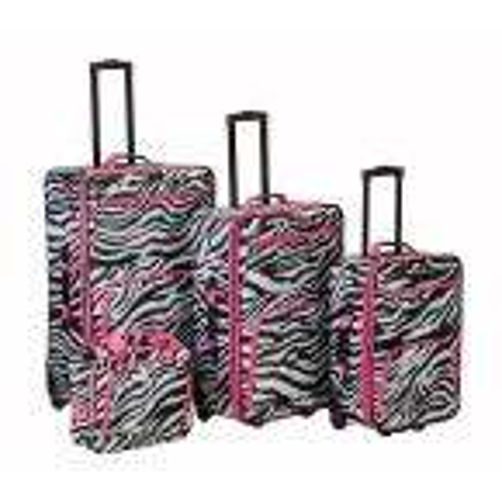 Rockland Beautiful Deluxe Expandable Luggage 4-Piece Softside Luggage Set, Pink Zebra