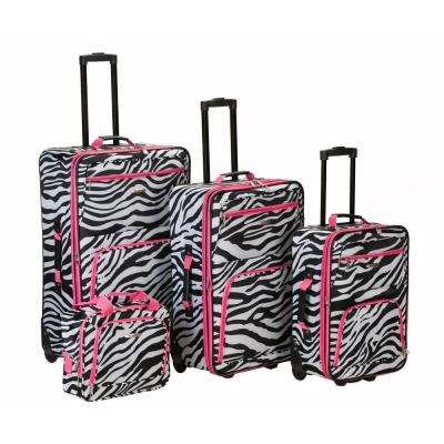 Rockland Beautiful Deluxe Expandable Luggage 4-Piece Softside Luggage Set, Pink Zebra
