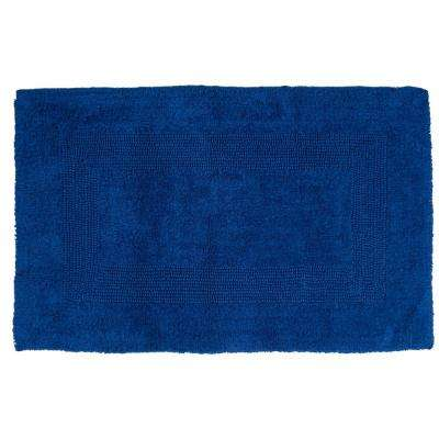 24 in. x 43 in. Cotton Reversible Bath Mat in Navy