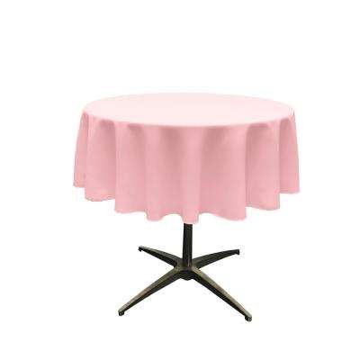 58 in. Round Light Pink Polyester Poplin Tablecloth
