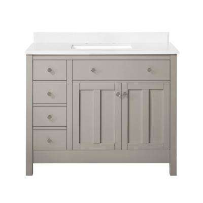 Hillside 42 in. Bath Vanity in Sharky Gray with Cultured Marble Vanity Top in White with White Basin