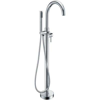 Kros Series 2-Handle Freestanding Claw Foot Tub Faucet with Hand Shower in Polished Chrome