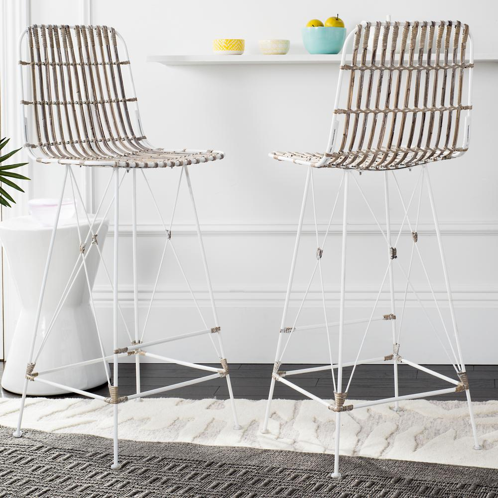 Wicker bar stool in white wash