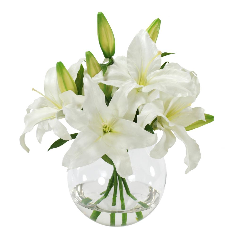 Casablanca Lily Bouquet 16 in. Vase in Glass White Flowers-SDP217-WW ...