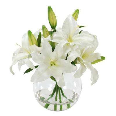 Casablanca Lily Bouquet 16 in. Vase in Glass White Flowers