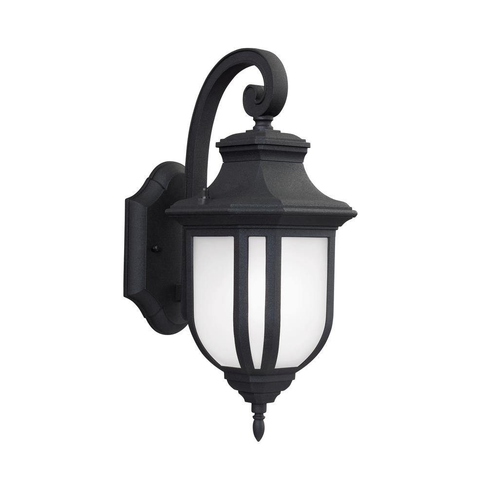 Sea Gull Lighting Childress 1-Light Black Outdoor 14.625 in. Wall Lantern Sconce