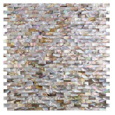 Lokahi Brume Gold Mini Brick Pearl Mosaic Tile - 3 in. x 6 in. Tile Sample