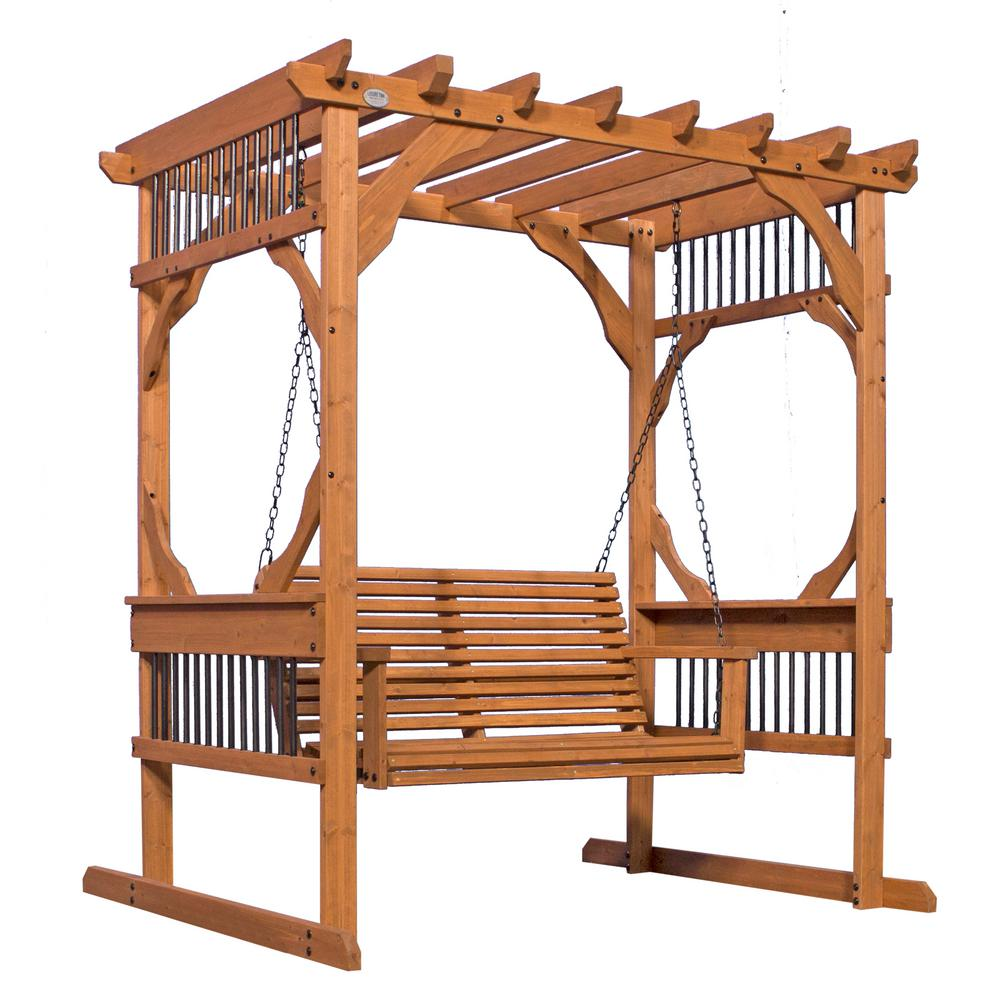backyard discovery 3 person wood patio pergola swing in cedar