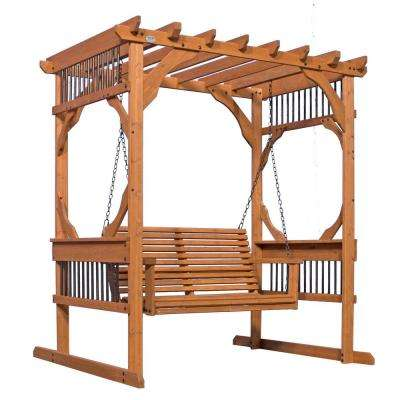 3 Person Wood Patio Pergola Swing In Cedar