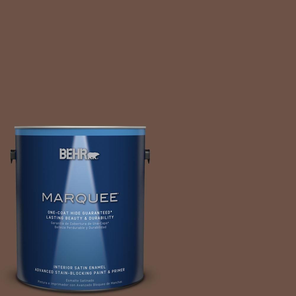 1 gal. #MQ2-5 Well Bred Brown One-Coat Hide Satin Enamel Interior