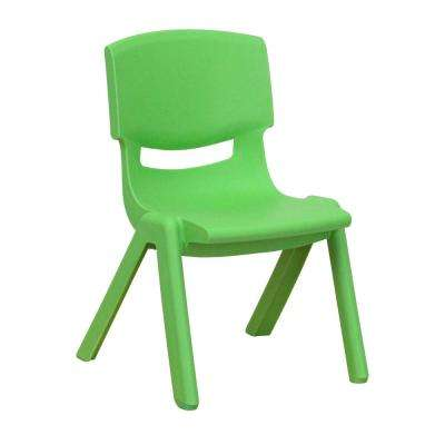 Green Plastic Stackable School Chair with 10.5 in. Seat Height