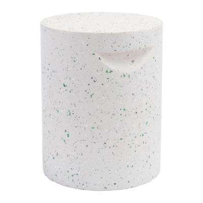 Terrazzo White Stone Outdoor Side Table