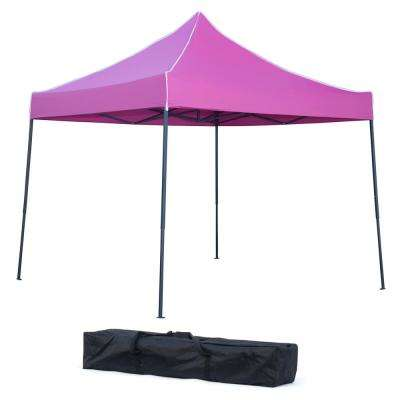 10 ft x 10 ft. Pink Lightweight and Portable Canopy Tent Set