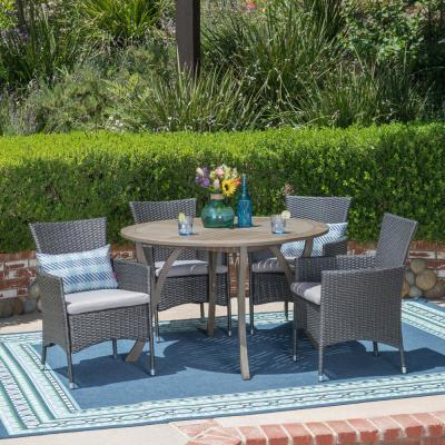 Albury Gray 5-Piece Wood and Wicker Outdoor Dining Set with Silver Cushions