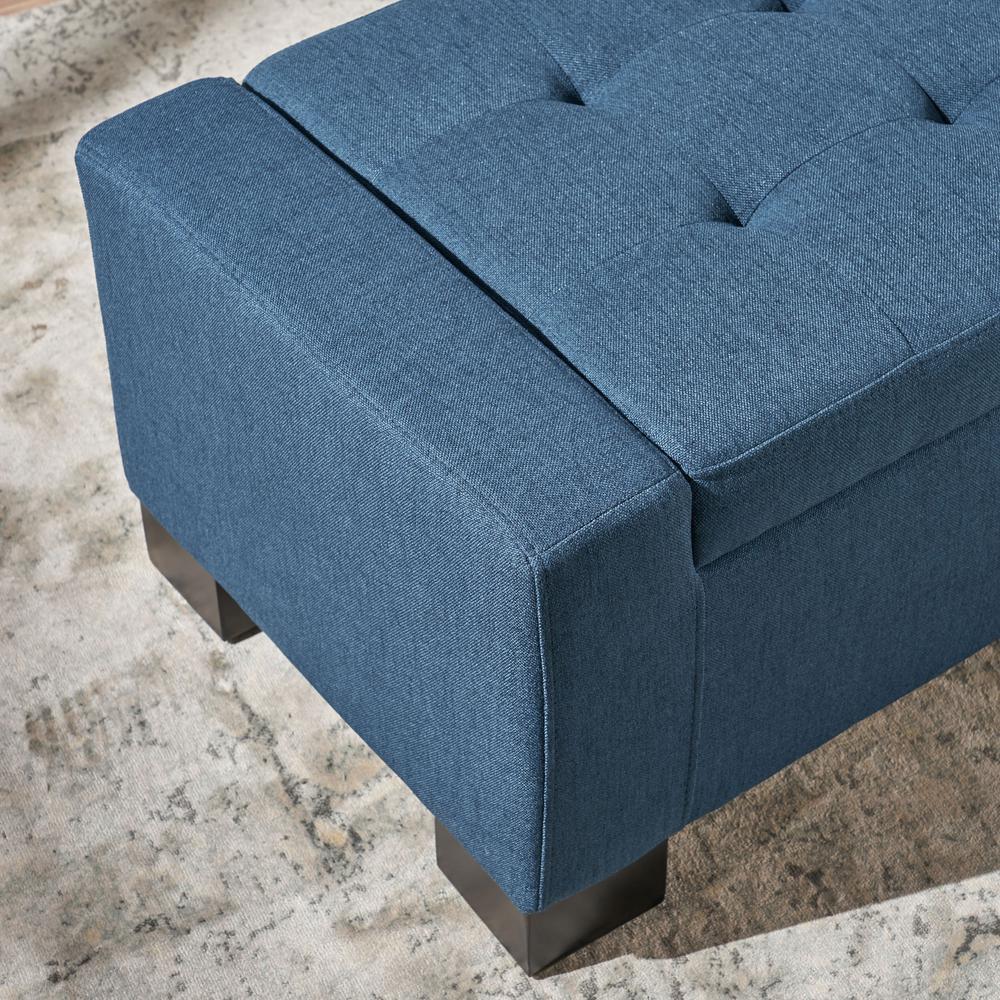 Strange Noble House Guernsey Dark Blue Fabric Storage Bench 10768 Pdpeps Interior Chair Design Pdpepsorg