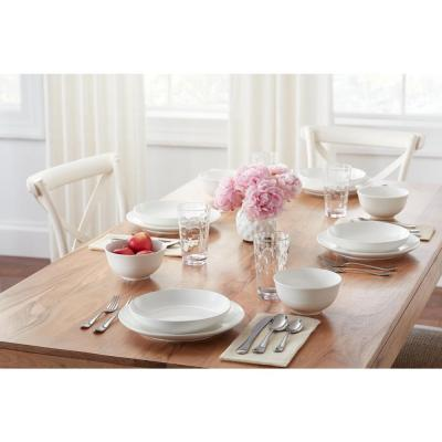 Kempton 16-Piece White Stoneware Dinnerware Set (Service for 4)