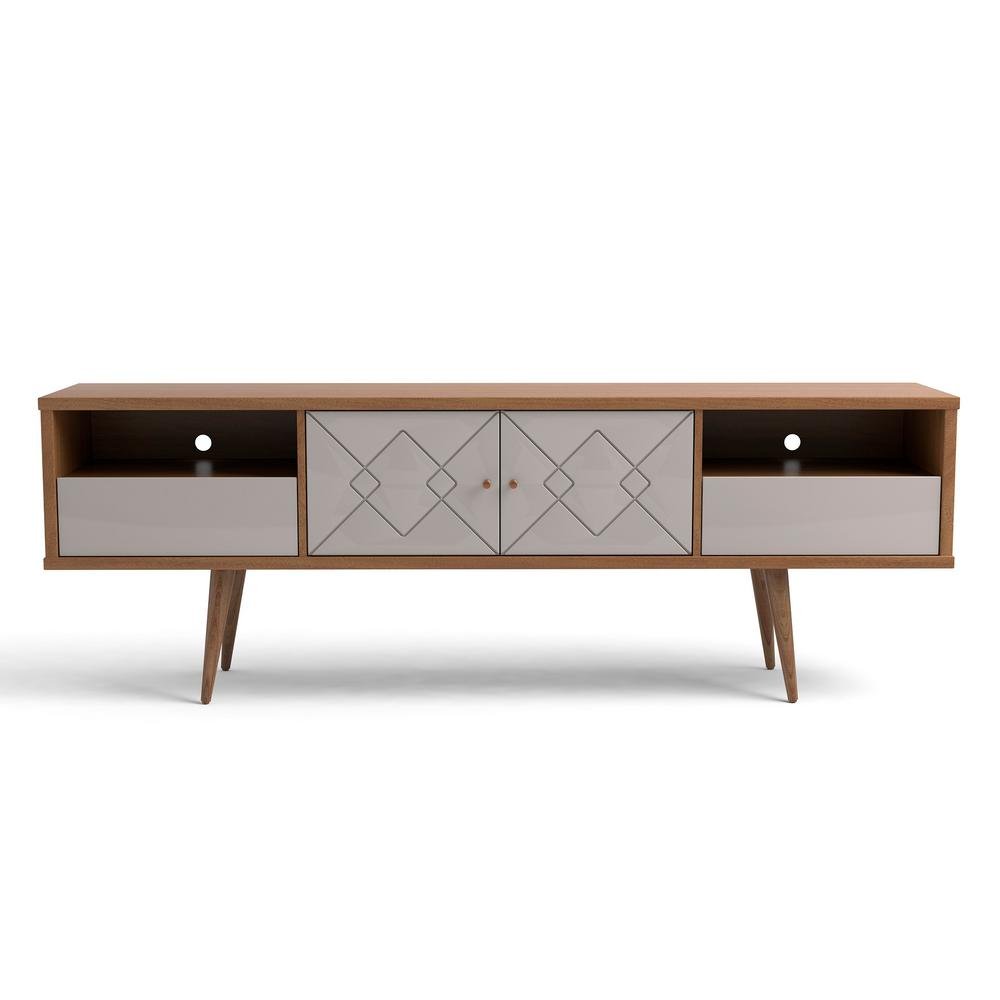manhattan comfort trinity in off white and maple cream mid century modern tv stand 220952. Black Bedroom Furniture Sets. Home Design Ideas