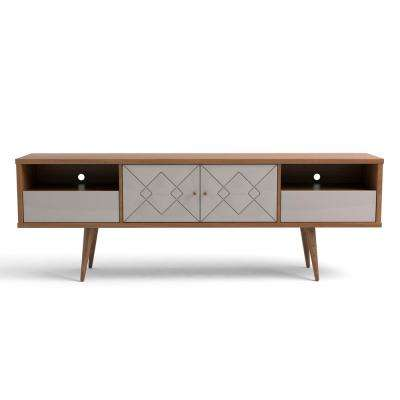 Trinity 70.86 in. Off White and Maple Cream Mid-Century Modern TV Stand