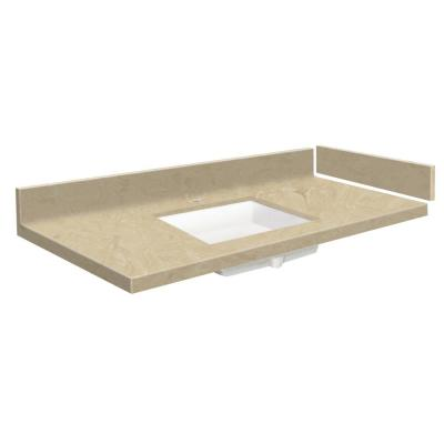 58 in. W x 22.25 in. D Solid Surface Vanity Top in Almond Sky with White Basin and Single Hole