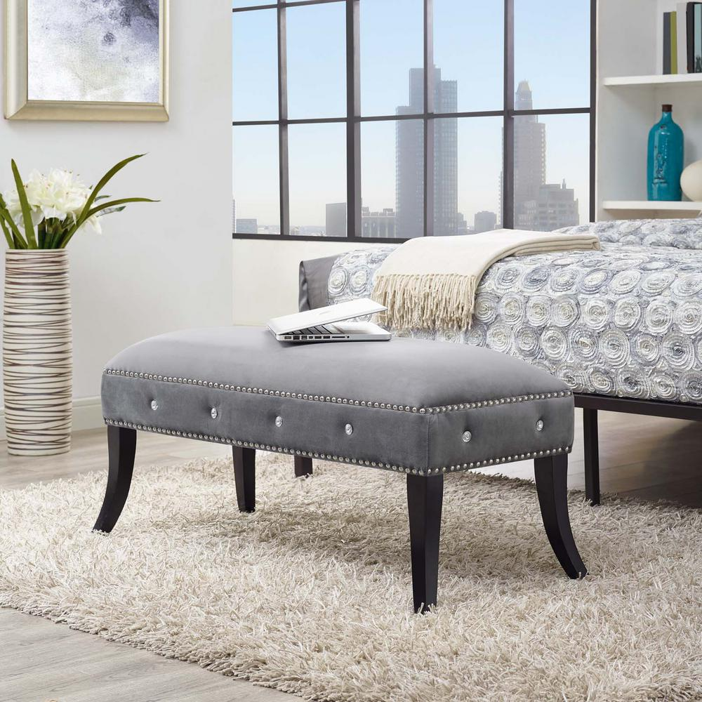 Enchant Gray Velvet Bench