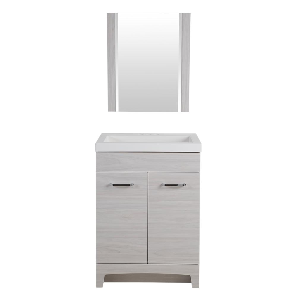 Glacier Bay Stancliff 24 1/2 In. W X 18 3/4 In. D Bath Vanity In Elm Sky  With Cultured Marble Vanity Top In White And Mirror ST24P3 EK   The Home  Depot