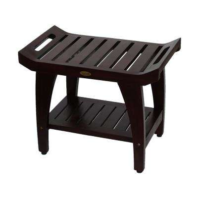 Tranquility 24 in. Teak Eastern Style Shower Bench with Shelf