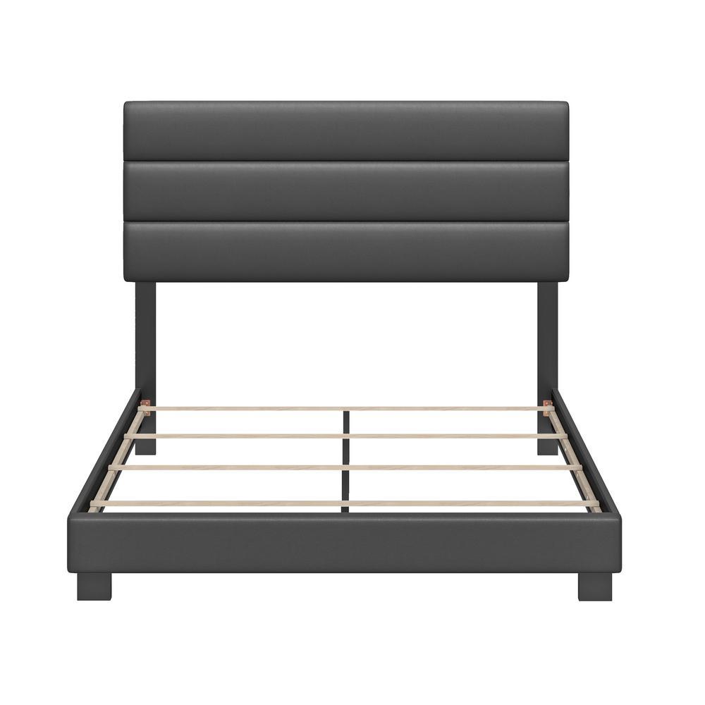 Vivian Faux Leather Black Upholstered Full Platform Bed Frame