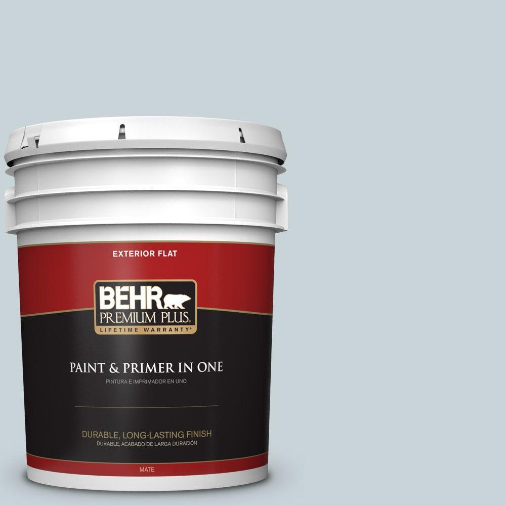 BEHR Premium Plus 5-gal. #PPL-73 Tranquil Sea Flat Exterior Paint
