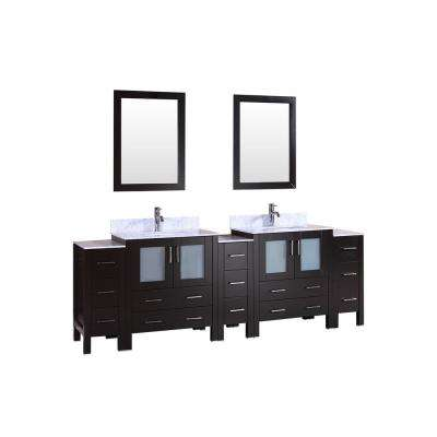 96 in. W Double Bath Vanity with Carrara Marble Vanity Top in Gray with White Basin and Mirror