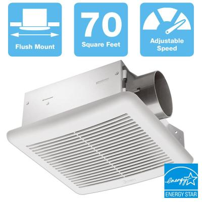 70 CFM Wall or Ceiling Bathroom Exhaust Fan with Dual Speed, ENERGY STAR