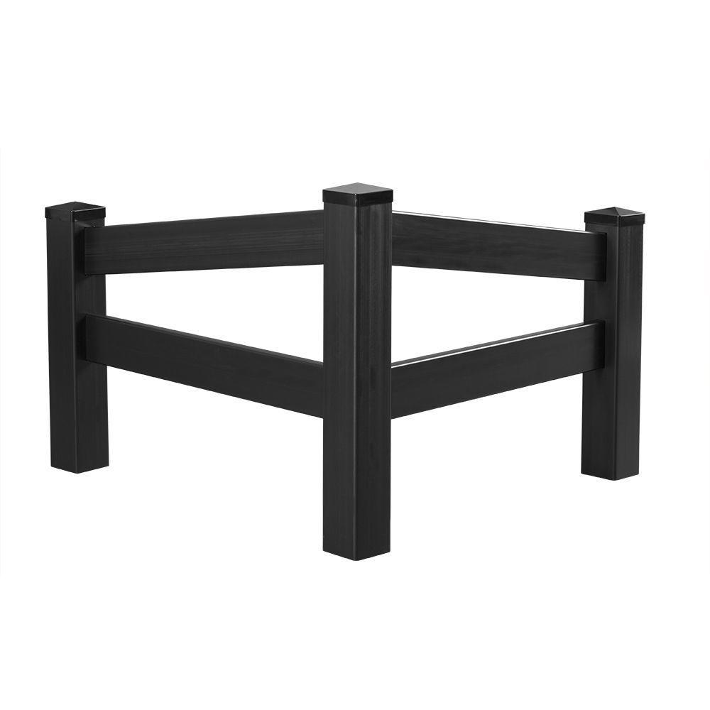 4 ft. H x 4 ft. W Black Vinyl Angled Fence Corner Accent Panel Kit