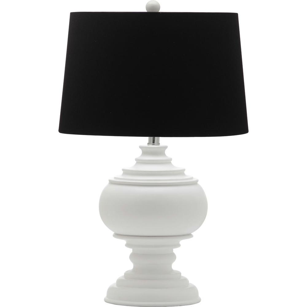 Safavieh callaway 2625 in white table lamp with black shade white table lamp with black shade geotapseo Image collections