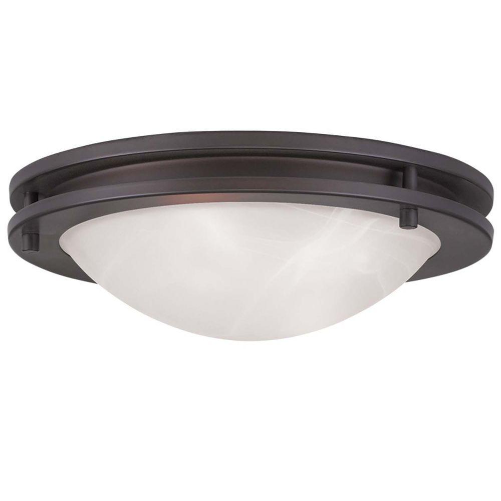 Livex Lighting Providence 2-Light Bronze Incandescent Ceiling Flush Mount