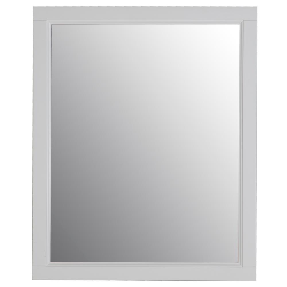 Ashland 31 in. W x 26 in. H Wood Framed Wall Mirror in White