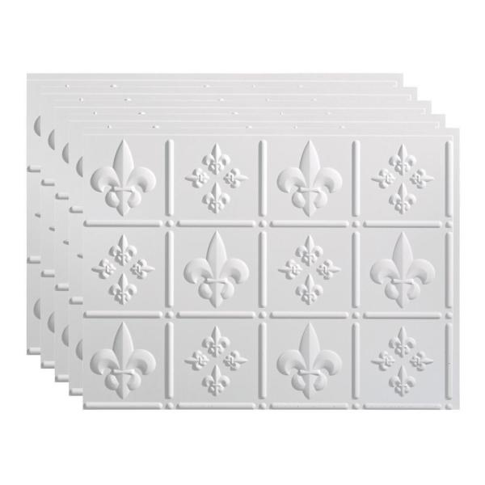 Fasade Fleur De Lis 18 In X 24 In Gloss White Vinyl Decorative Wall Tile Backsplash 15 Sq Ft Kit N66 00 The Home Depot