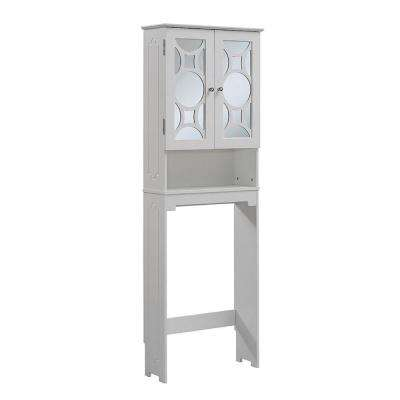 24 in. W x 68-4/5 in. H x 9-1/4 in. D Over the Toilet Storage Cabinet with 2 Mirrored Doors in White