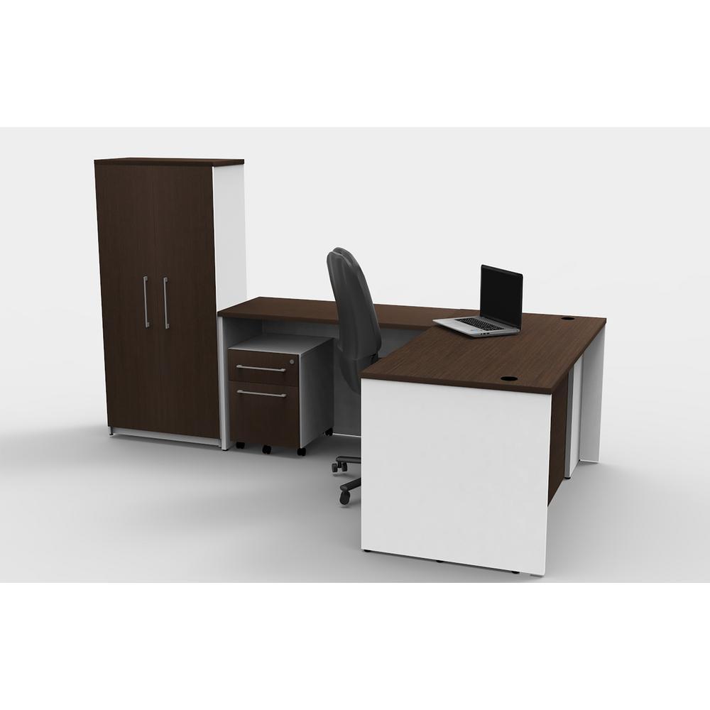 6-Piece White/Espresso Office Reception Desk Collaboration Center