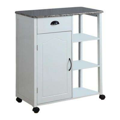 White Wood with Marble Laminate Storage Serving Cart
