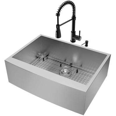 All-in-One Farmhouse Apron Front Stainless Steel 30 in. Single Bowl Kitchen Sink and Faucet Set in Matte Black