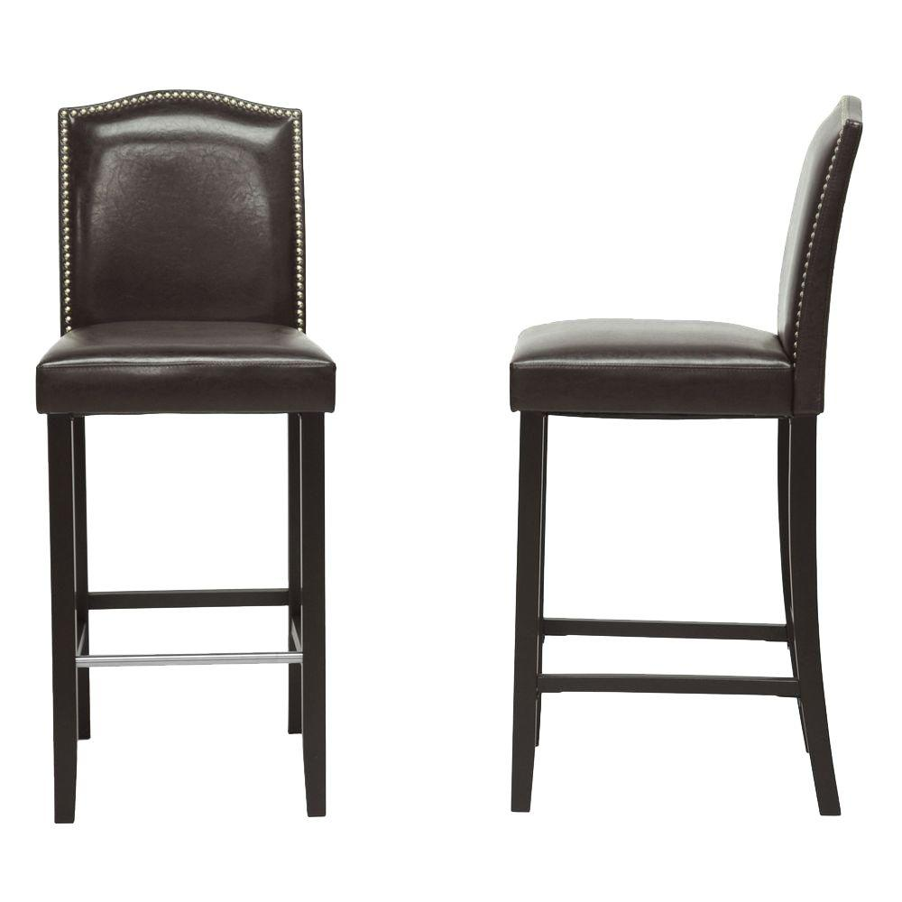 Baxton studio libra dark brown faux leather upholstered 2 piece bar stool set