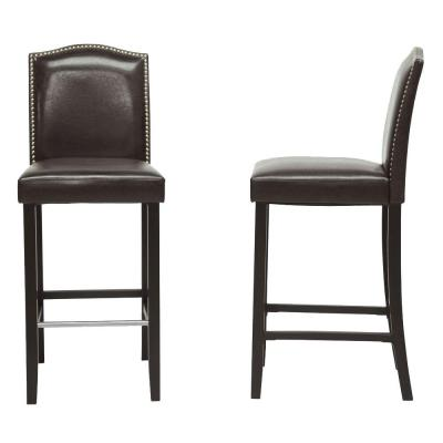 Libra Dark Brown Faux Leather Upholstered 2-Piece Bar Stool Set