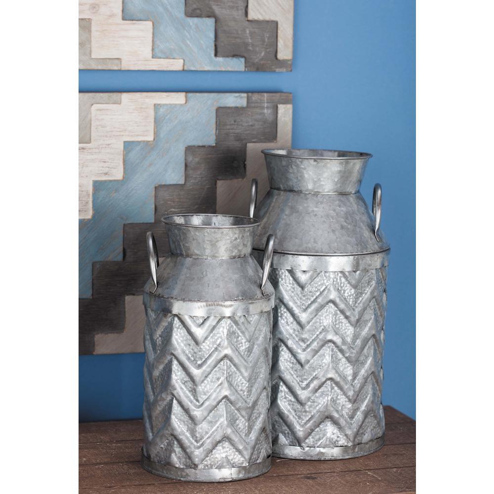 Farmhouse Ridged Chevron-Patterned Metallic Gray Metal Milk Jug (Set of 3)