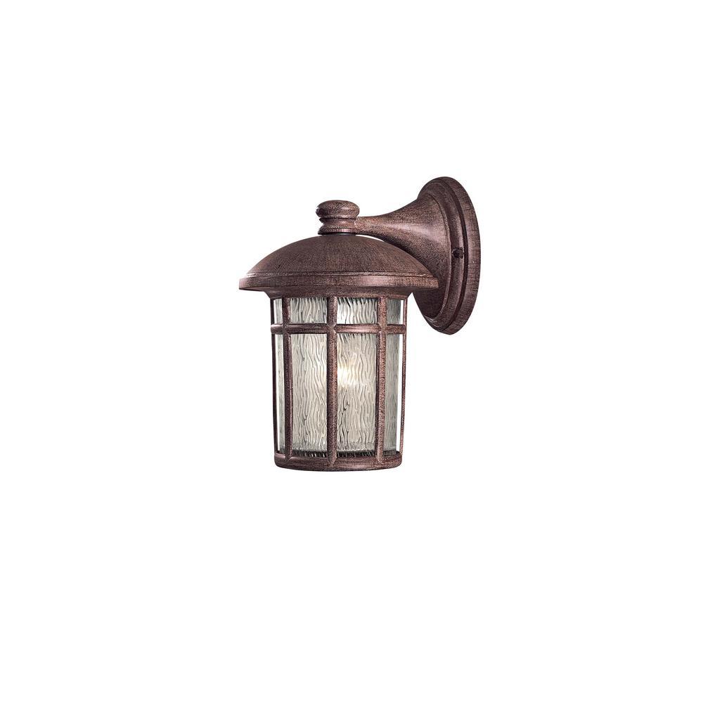 Cranston 1-Light Vintage Rust Outdoor Wall Mount Lantern