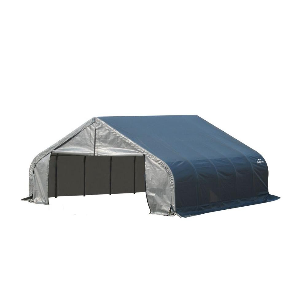ShelterLogic 18 ft. x 28 ft. x 12 ft. Grey Steel and Poly...