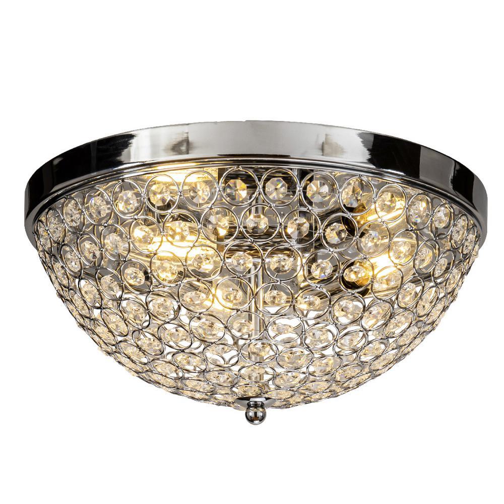 Interior Decor Crystal Beaded 3-Lights Chrome Ceiling Flush Mount Lighting